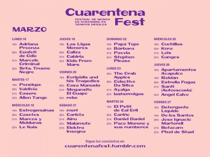 Cartel de artistas en el cuarentena fest