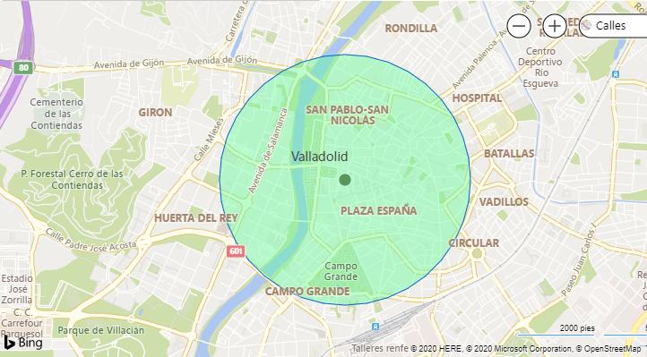 mapa kilómetro a la redonda