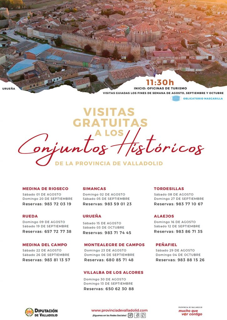 Cartel informativo visitas gratuitas por los conjuntos históricos de la provincia de Valladolid.
