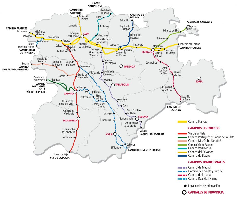 Mapa de rutas del camino de santiago en Castilla y León