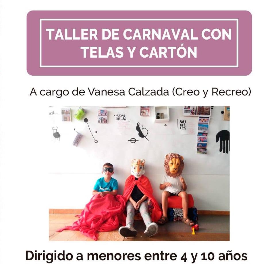 cartel del taller de disfraces para niños
